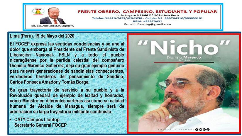 Condolencia Nicho Marenco FOCEP